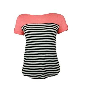 MAEVE Anthropoligie Pink Black Striped Top M